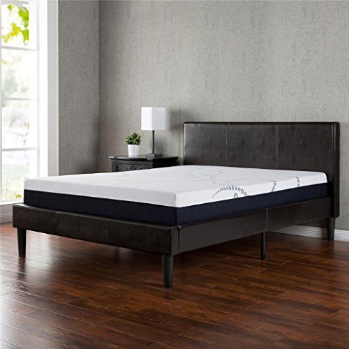 Faux Leather Upholstered Platform Bed with Wooden Slats