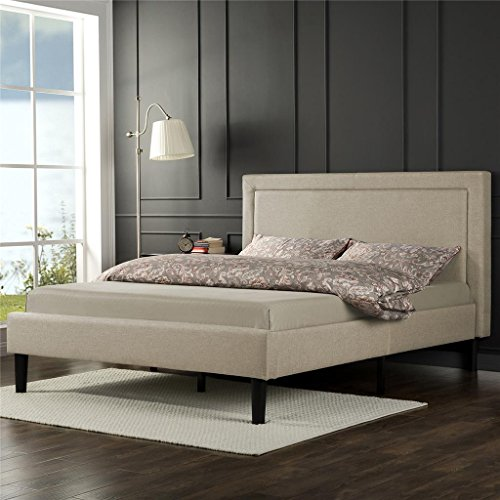 Zinus Upholstered Detailed Platform Bed with Wooden Slats